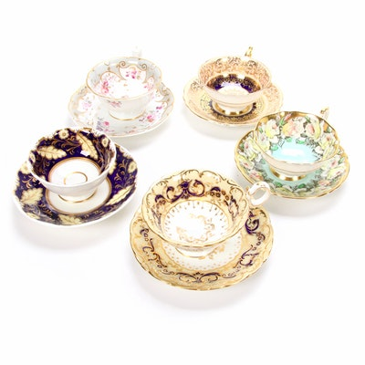"Gilt Porcelain Tea Cups, Featuring Coalport ""Phoenix"", Antique and Vintage"