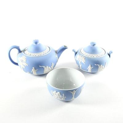 Wedgwood Blue Jasperware Tea Pot, Sugar, and Waste Bowl