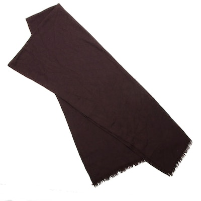 Gucci Wool and Silk Blend GG Monogram Fringed Scarf