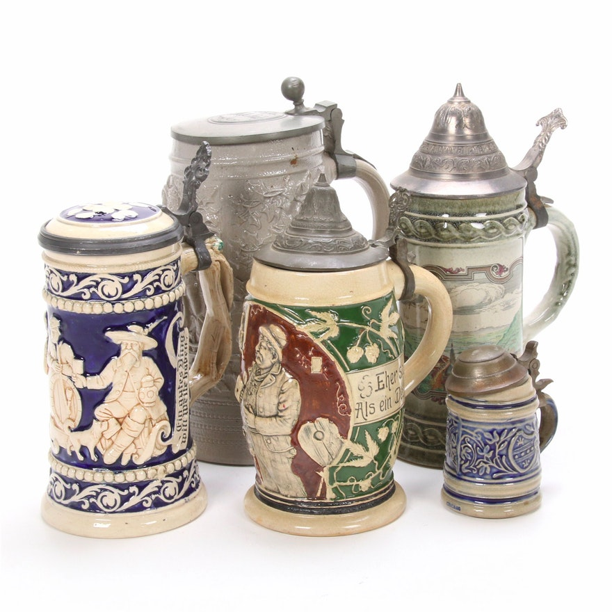 Staffel and other German Stoneware Steins, Mid to Late 20th Century