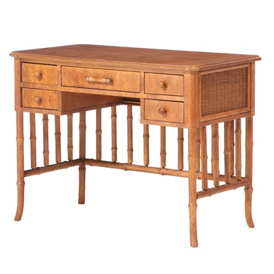 American of Martinsville Faux-Bamboo and Wicker Desk, Mid to Late 20th Century