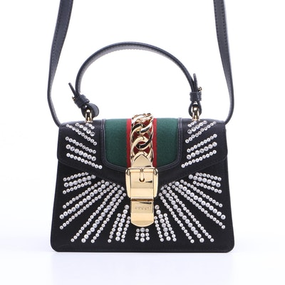 Gucci Mini Sylvie Crystal Burst Top Handle Bag in Black Satin