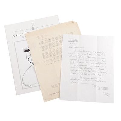 Artist Al Hirschfeld Signed Momentos to Samuel Marx
