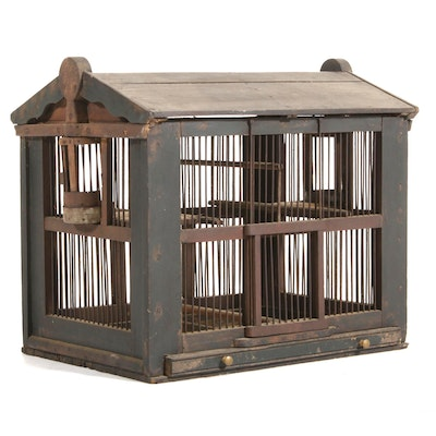 Painted Wood House Form Birdcage