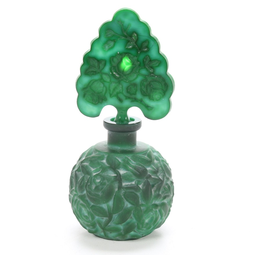 Bohemian Malachite Glass Perfume Bottle, Early 20th Century