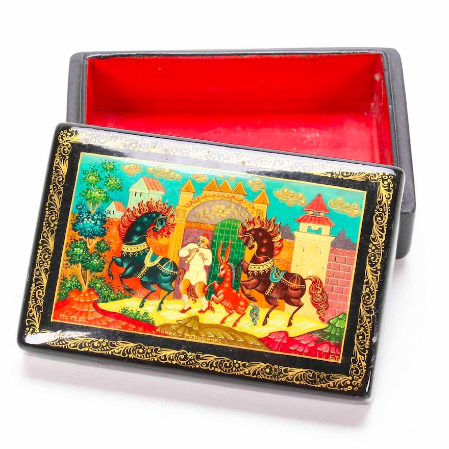 """Soviet Russian Mstyora Lacquer Box """"The Little Humpbacked Horse"""""""