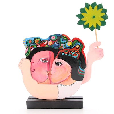 Folk Art Wood Carving of Embracing Figures, Mid to Late 20th Century