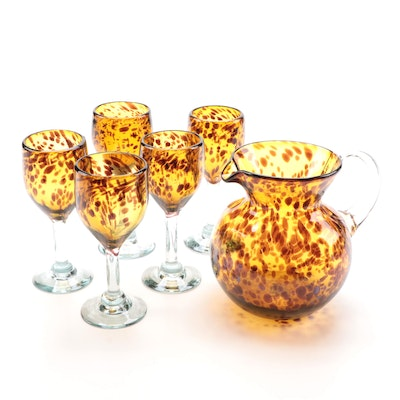 Blown Glass Tortoise Shell Patterned Pitcher and Goblets