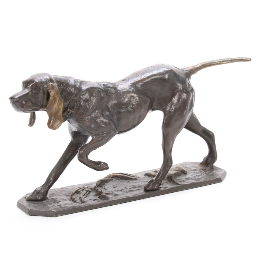 Brass Canine Sculpture of Coonhound, Mid to Late 20th Century