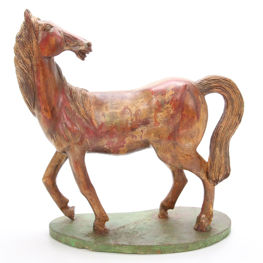 Folk Art Hand-Carved Horse Sculpture, Early to Mid 20th Century