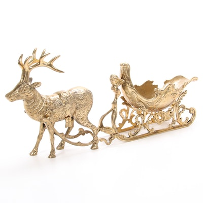 Brass Sleigh and Reindeer Centerpiece, Vintage
