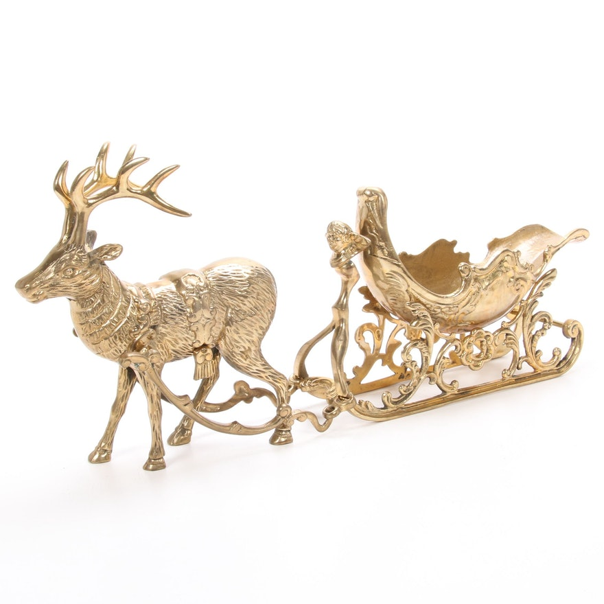 Brass Sleigh and Reindeer Centerpiece, Vintage