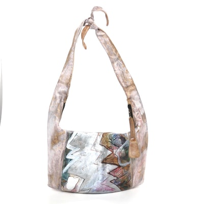Jane Yoo Signed Hand-Painted Leather Hobo Shoulder Bag