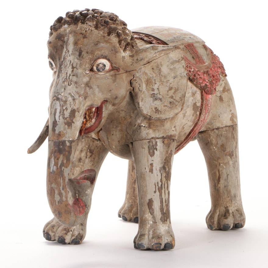 Indian Style Wooden Elephant Statue, 20th Century