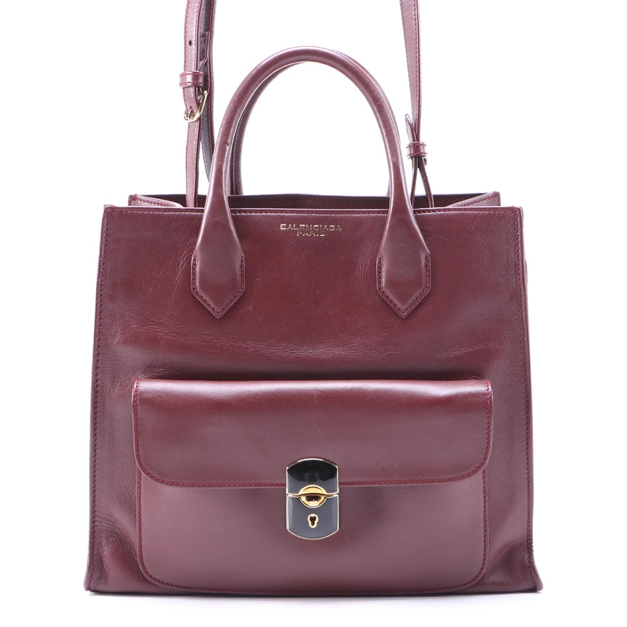 Balenciaga Padlock All Afternoon Two-Way Bag in Bordeaux Leather