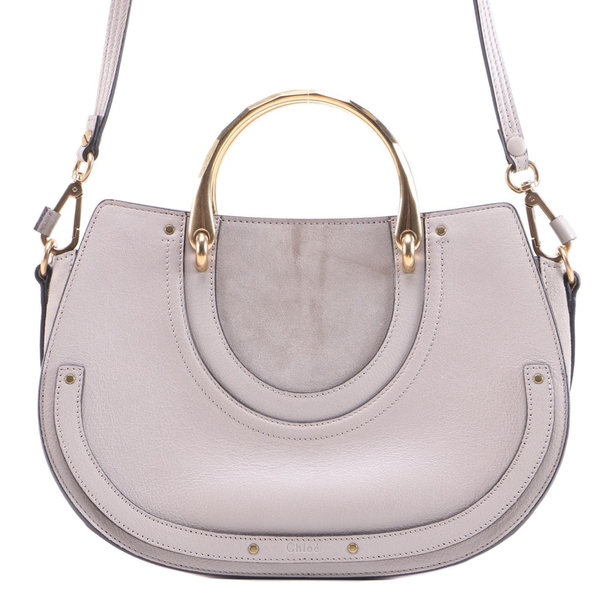 Chloé Pixie Top Handle Bag in Taupe Leather and Suede