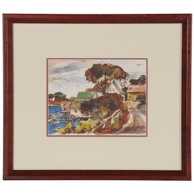 Merton Willmore Coastal Landscape Watercolor Painting, Mid 20th Century