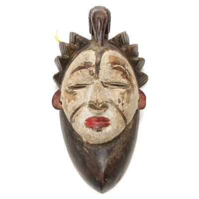 Idoma Style Wooden Mask with Animal Motif,