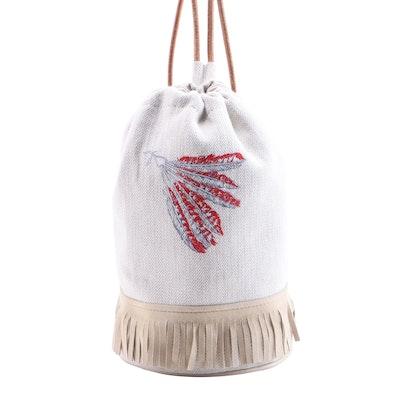 Hermès Tipi Sling Bag in Toile and Suede Fringe