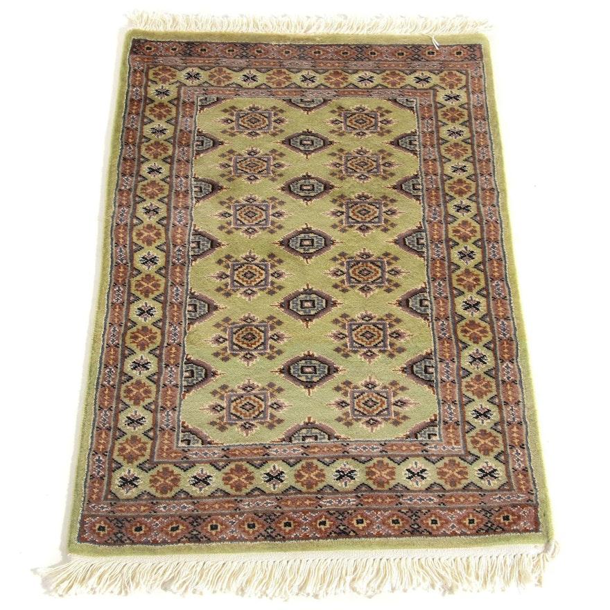 2' x 3'4 Hand-Knotted Pakistani Bokara Silk and Wool Rug, 2000s