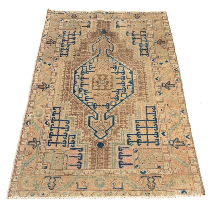 3'3 x 5'4 Hand-Knotted Persian Malayer Rug, 1950s