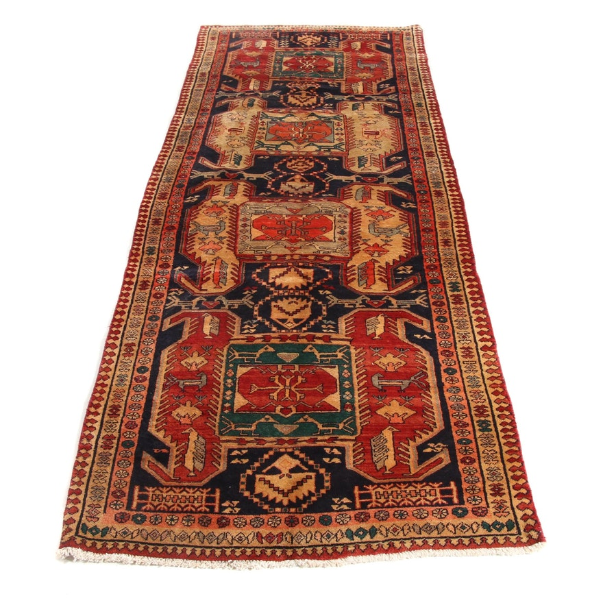 3'8 x 10'2 Hand-Knotted Northwest Persian Pictorial Runner, 1960s