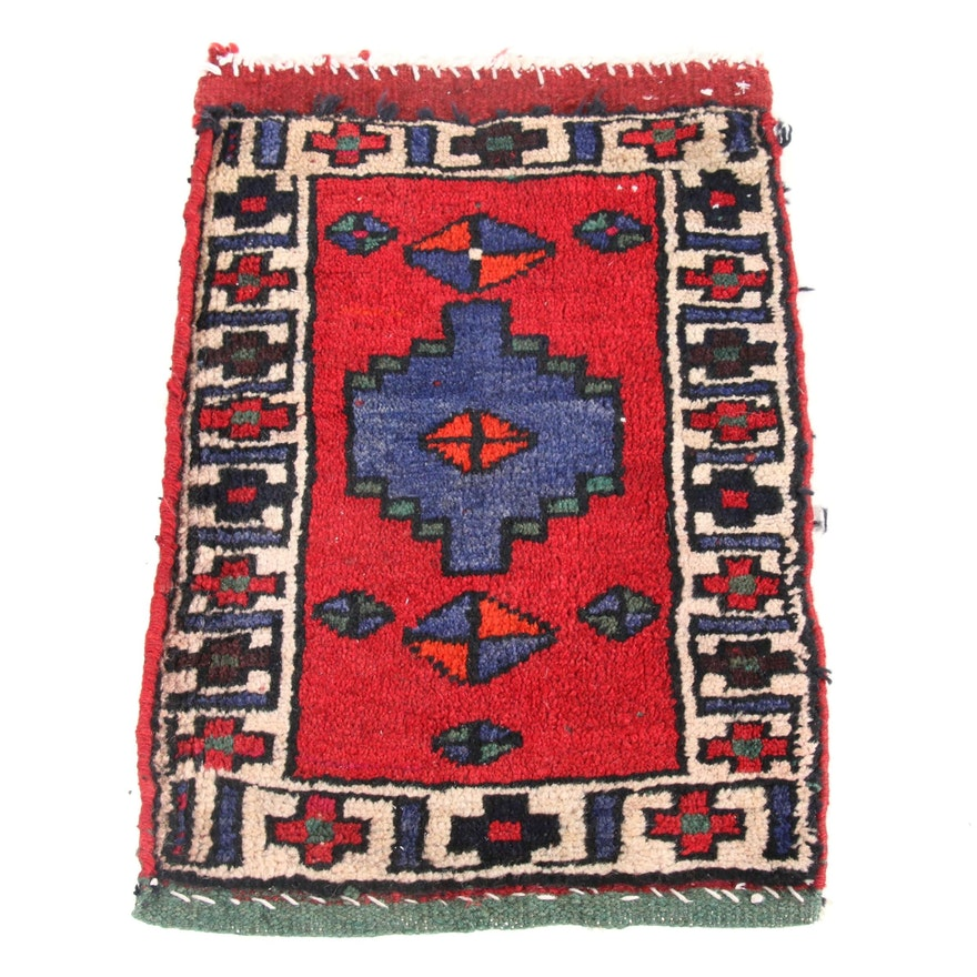 1'4 x 2' Hand-Knotted Persian Kurdish Accent Rug, 1960s