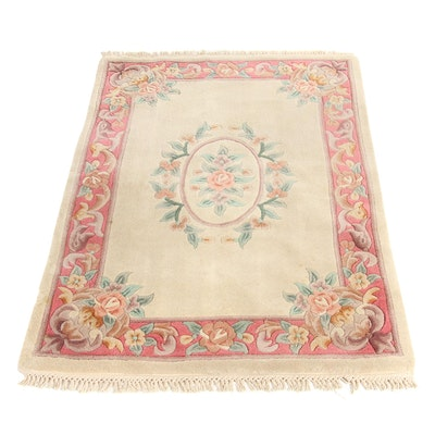 3'5 x 5'3 Machine-Loomed Chinese Aubusson Covered Back Rug, 1990s