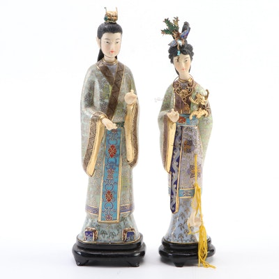 Pair of Cloisonné Enamel Chinese Beauties, Mid-20th Century