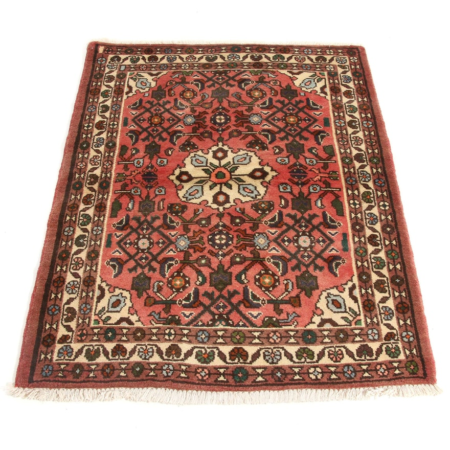 3'6 x 4'9 Hand-Knotted Persian Zantan Rug, 1970s