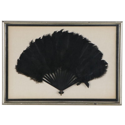 Framed Black Ostrich Feather Hand Folding Fan with Bow, Early 20th Century