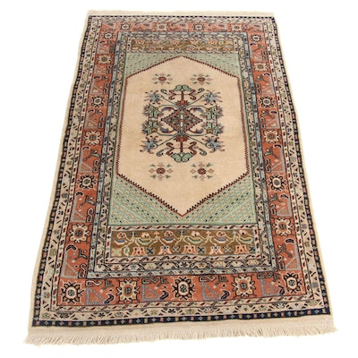 3'2 x 5'10 Hand-Knotted Turkish Kula Village Rug, 1970s