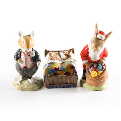 "Royal Doulton Bone China Animal Figurines Including ""Happy Christmas"""