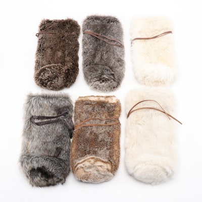 Restoration Hardware and Pottery Barn Faux Fur Wine Bottle Bags