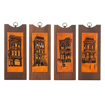 Mid Century Enamel Plaques of Tall Houses