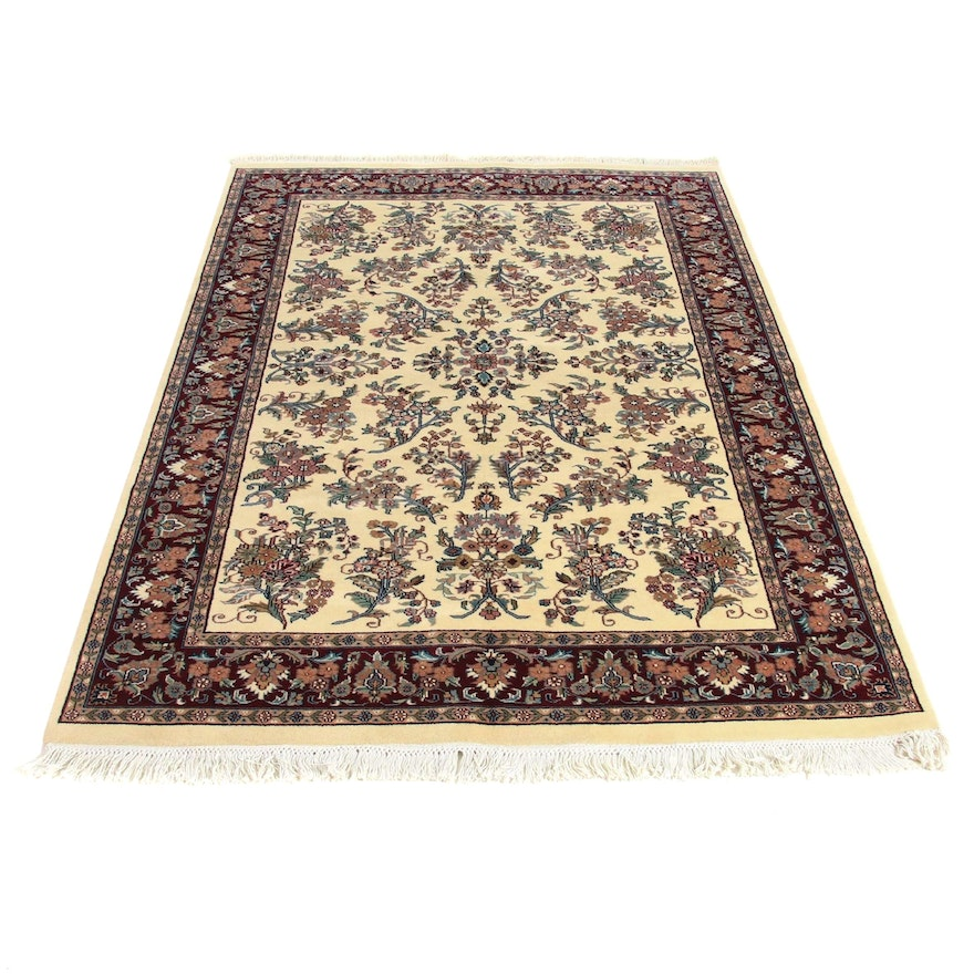 5' x 8'1 Hand-Knotted Indo Persian Lilihan Rug, 2000s
