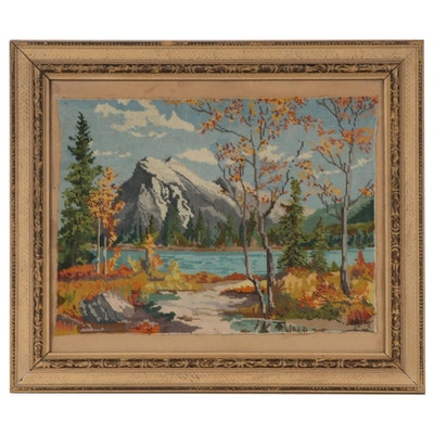 Framed Needlepoint Landscape, Early to Mid-20th Century