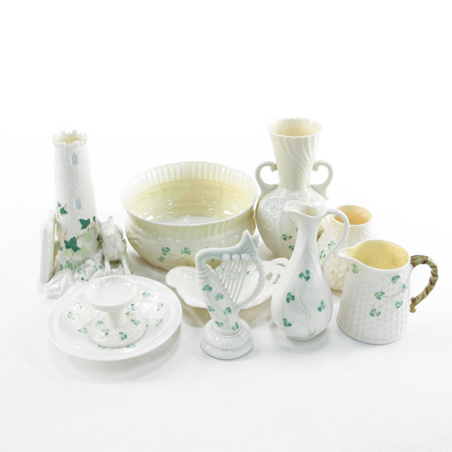 """Belleek Round Tower Vase and Other """"Shamrock"""" Bone China Tableware, Late 20th C."""