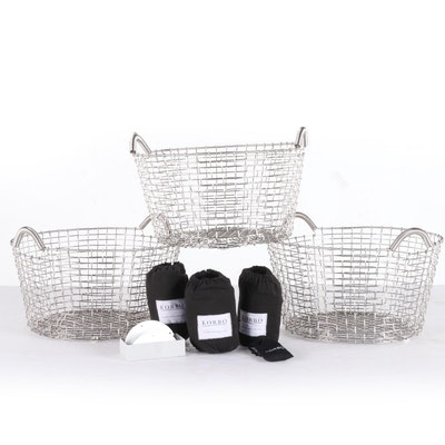 Korbo Woven Wire Metal Laundry Baskets with Liners and Ceramic Wall Hooks