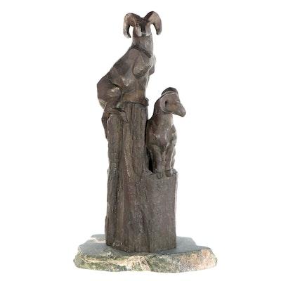 Una Hanbury Bronze of Bighorn Sheep, Mid to Late 20th Century