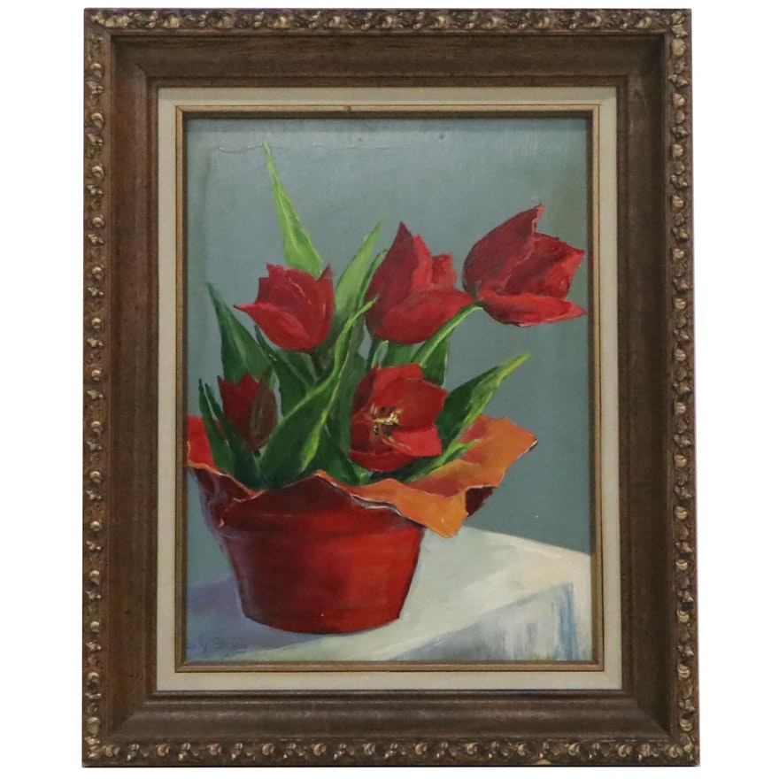 Red Tulip Still Life Oil Painting, Late 20th Century