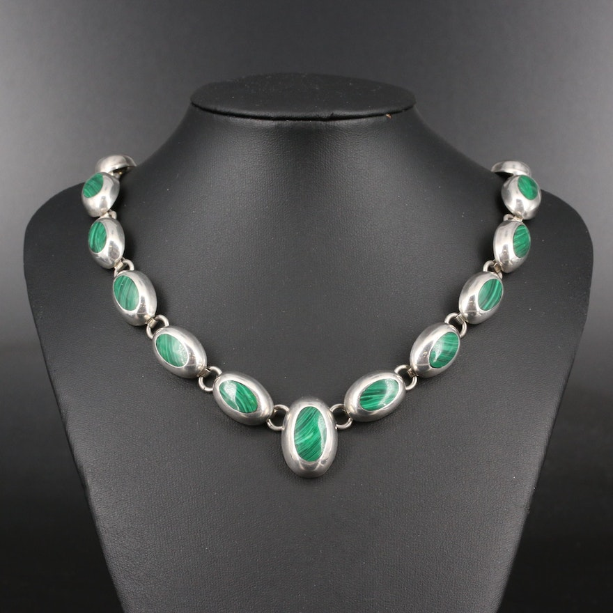 Sterling Silver Faux Malachite Link Necklace