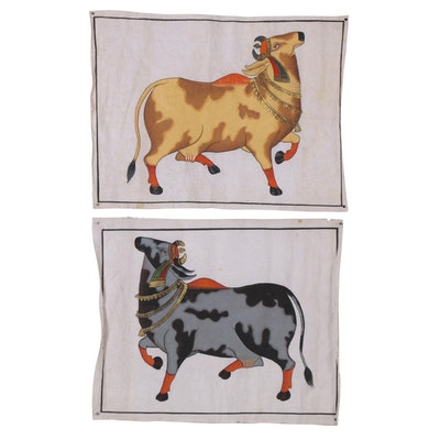 Indian Mughal Style Gouache Cow Paintings, 20th Century