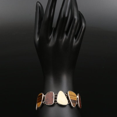 Sterling Tiger's Eye, Mahogony Obsidian and Mother of Pearl Bracelet