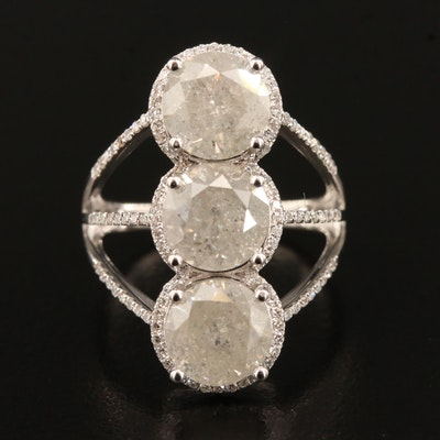 14K 6.72 CTW Diamond Three Stone Halo Ring with Split Shank