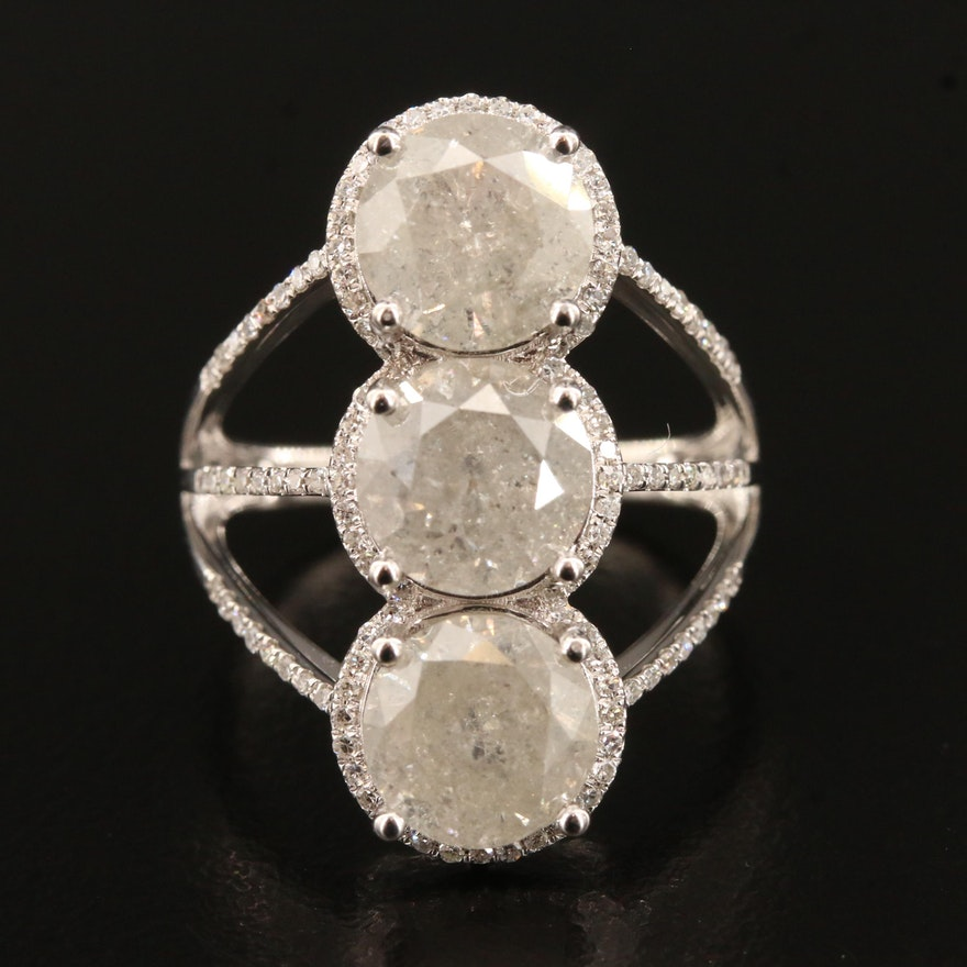 14K 6.72 CTW Diamond Three Stone Halo Ring with Split Shank
