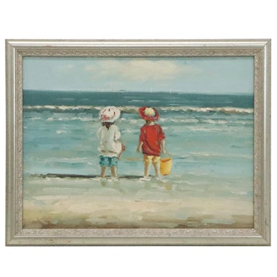 Oil Painting In the Style of Sally Swatland of Children at the Beach
