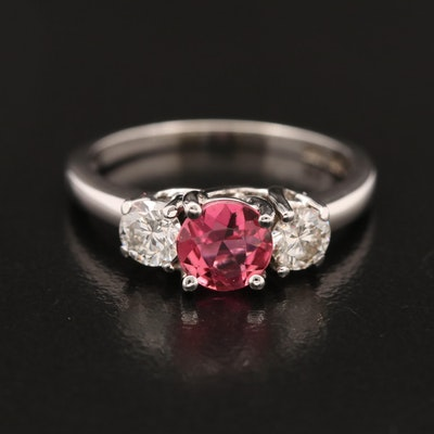 14K Tourmaline and Diamond Three Stone Ring