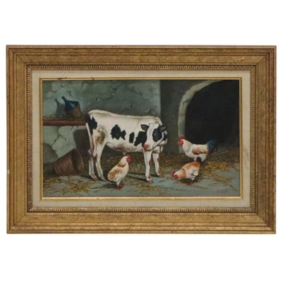 Oil Painting of Cow, Hens and Rooster, 20th Century