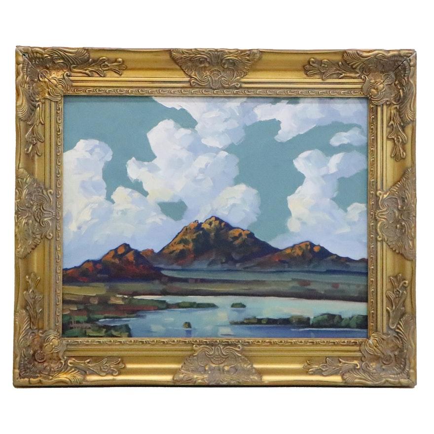 William Hawkins Oil Painting of Western Landscape, 21st Century